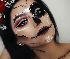 black, makeup, and mexican skull image