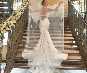 bridal, lace wedding dress, and bridal gown image