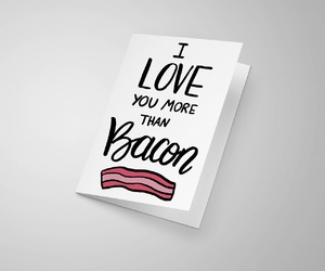 bacon, card, and hand lettering image