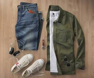 green, man, and outfit image
