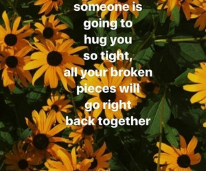broken pieces, one day, and hug image