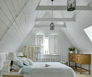 bedroom, home decor, and exposed beams image