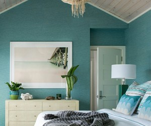bedroom decor, home decor, and blue bedroom image