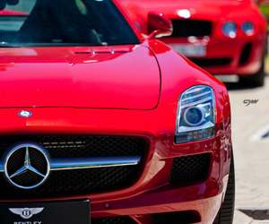car, red, and mercedes image
