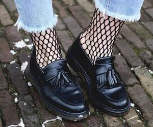 denim, fishnet, and fashion image