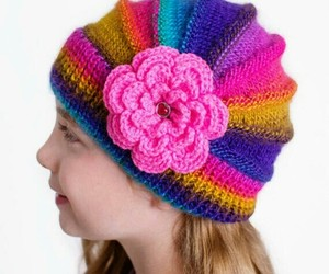 winter accessories, women fashion, and flower cap image