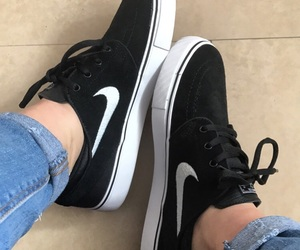 black and whit, nike, and outfit image