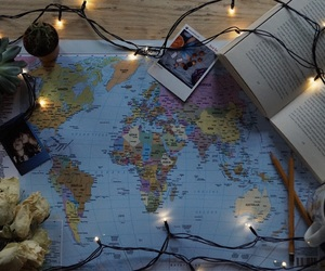 book, cactus, and fairy lights image