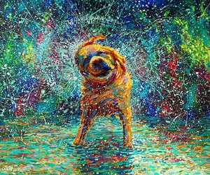 dog, art, and painting image