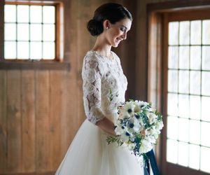bride, flowers, and lace image