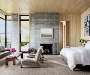 bedroom, california, and fireplace image
