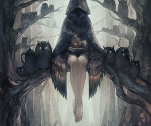 owl, dark, and art image