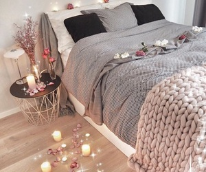 home, bed, and candles image