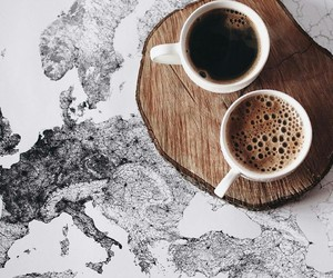 coffee, maps, and two image