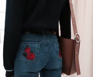 fashion, jeans, and rose image