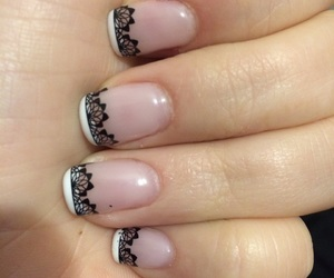 black lace, nail art, and french manicure image