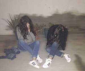 girl, adidas, and best friends image