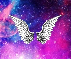 angel, easel, and galaxy image