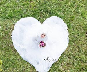 dress, hijab, and just married image