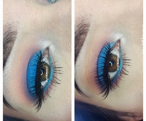 blue eyeshadow, colorful eyes, and colorful makeup image