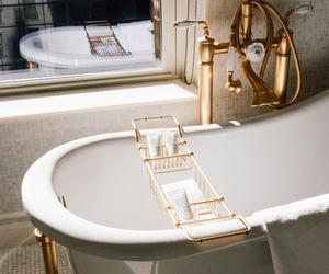 bath, gold, and bathroom image