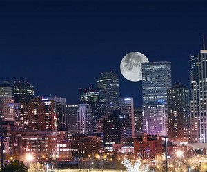 city, denver, and moon image