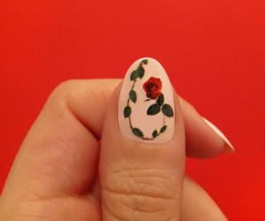 nails, rose, and red image