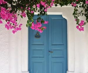 door, Greece, and flowers image