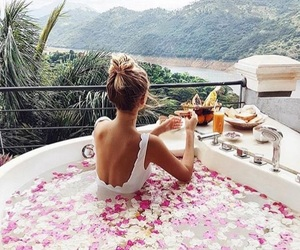 girl, flowers, and travel image
