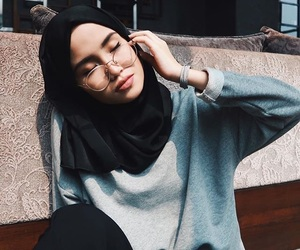 hijab, girl, and muslim image