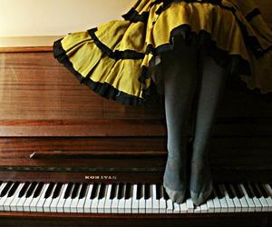 piano, dress, and girl image