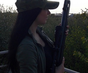 Firearms, girl, and rifle image