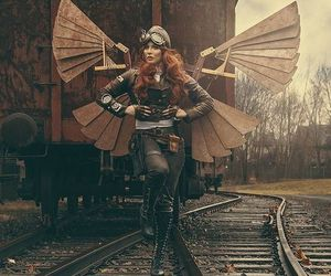 marching, steampunk, and wings image