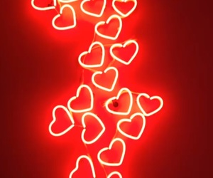 red, aesthetic, and hearts image