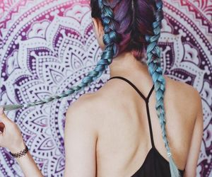 braids, galaxy, and girl image