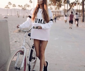 bike, beach, and hair image