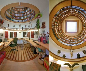 books, library, and house image