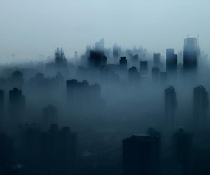 city, dark, and fog image