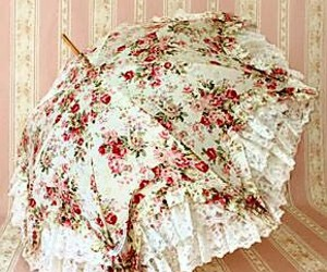 umbrella, floral, and vintage image