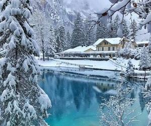 lake, snow, and winter image