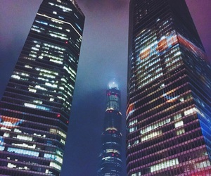 buildings, shanghai, and night image