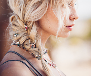 blonde hair, braided hair, and braids image
