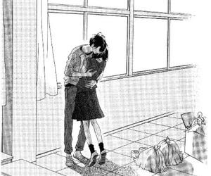manga, hirunaka no ryuusei, and hug image
