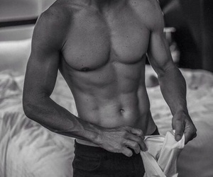 black and white, pillow fight, and six pack image