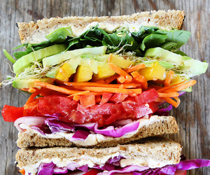 rainbow, sandwich, and vegetables image