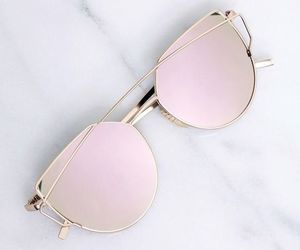 sunglasses, pink, and gold image