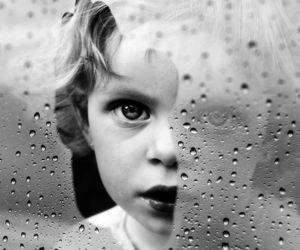 rain, black and white, and child image