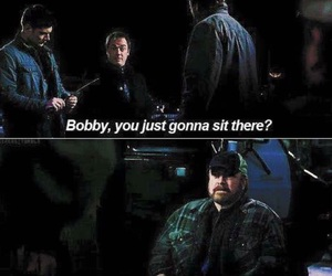 crowley, bobby, and supernatural image
