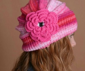 knitted cap, flower cap, and pink flower image