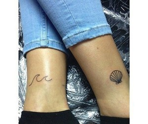 tattoo, shell, and waves image